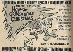 Print ad of Dr. Seuss' How the Grinch Stole Christmas from TV Guide, Dec 17-23, 1966