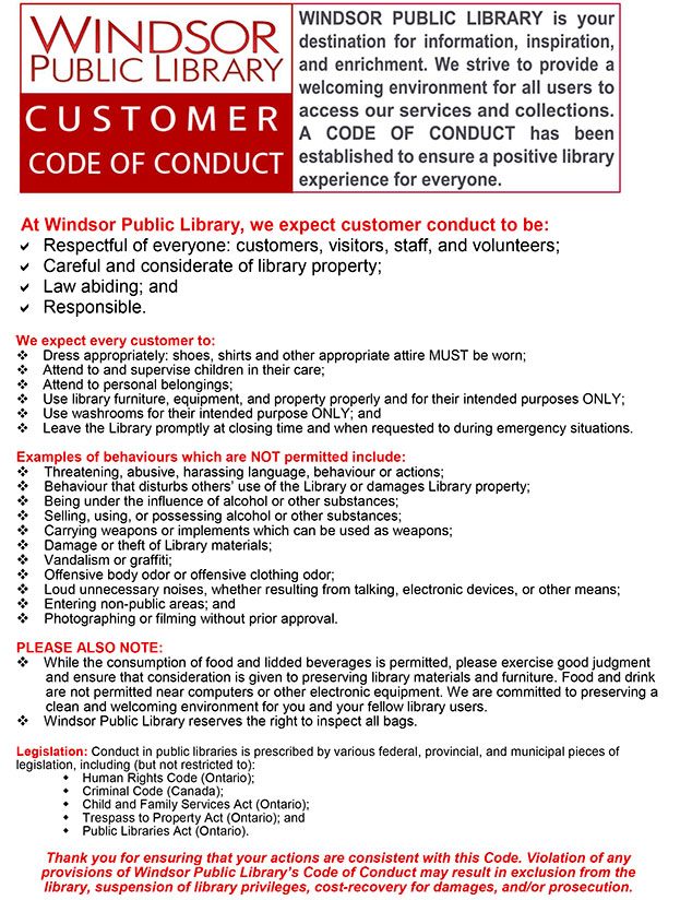 Windsor Public Library Code of Conduct