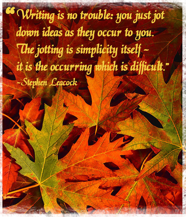 Stephen Leacock Quote over Maple Leaves