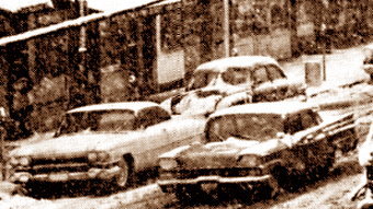 1950s car in snow