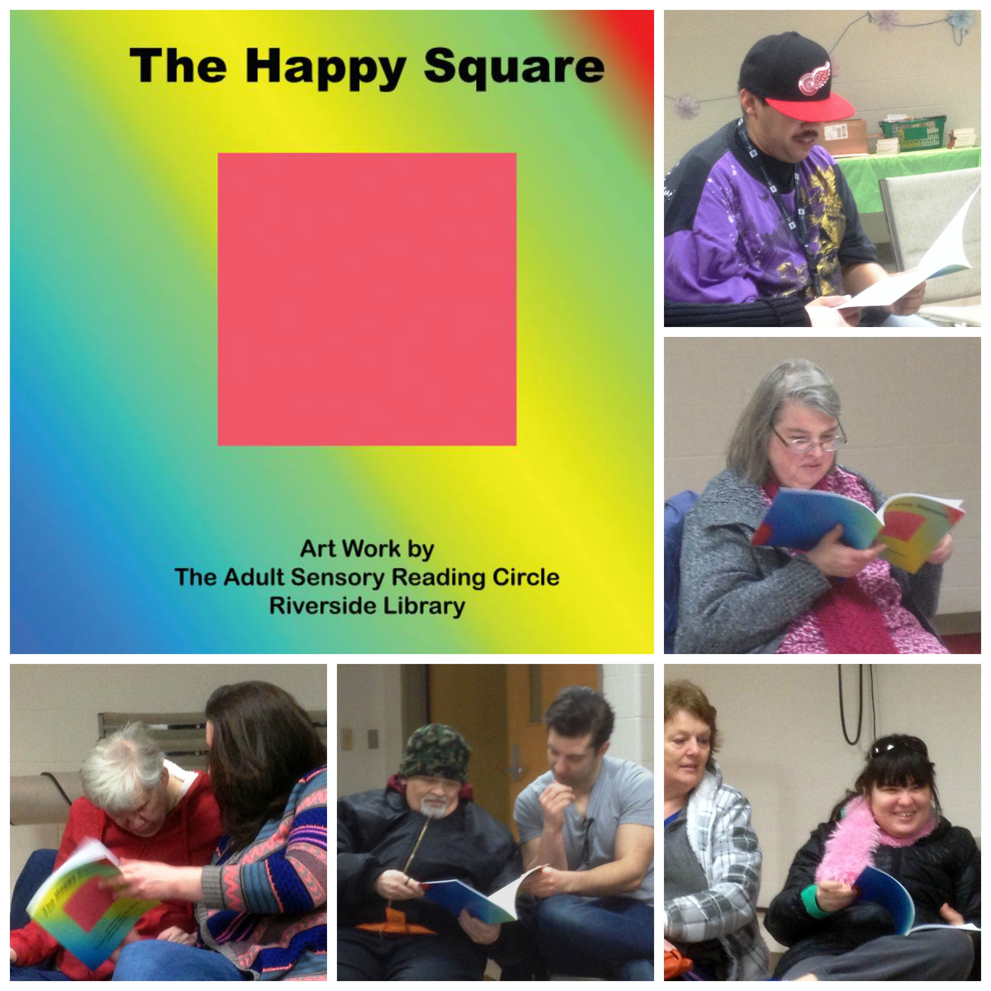 Members of the Riverside Adult Sensory Reading Circle reading their book for the first time.