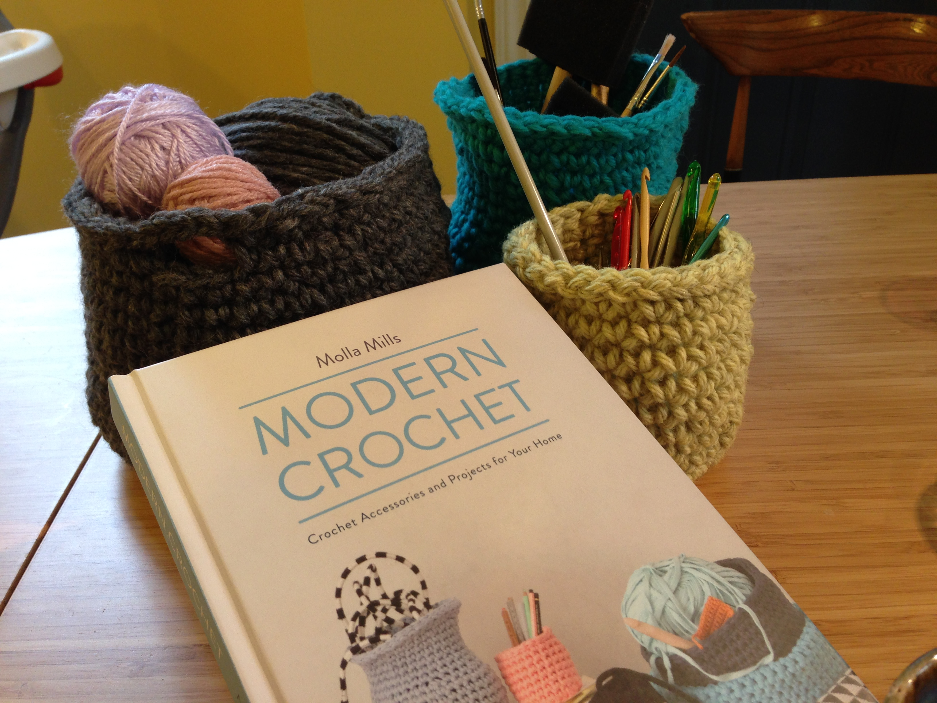 Crochet book with bowls