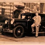 Bill Dubensky posing by the Hupmobile. Not sure of the model year or the year the photo was taken. Looks like Gordon McGregor School in the background.