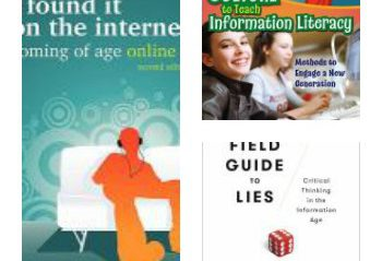 A collage of information literacy books